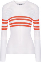 MSGM Striped Ribbed-knit Sweater - White
