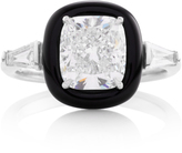 Nikos Koulis Oui Ring With Cushion Cut White Diamond White Diamond Tapered Baguettes And Black Enamel