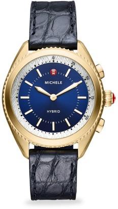 Michele Leather-Strap Hybrid Smart Watch