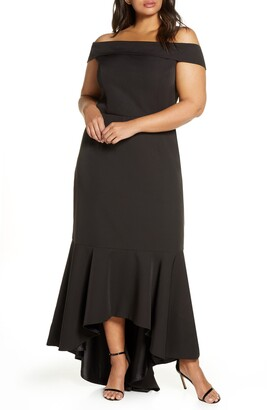 Chi Chi London Curve Shirley Off the Shoulder High/Low Evening Gown