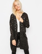 Only Dessi Hole Textured Longline Cardigan