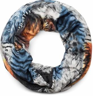 styleBREAKER Loop snood in animal fur look Leo tiger pattern fur look stitching scarf shawl unisex 01017047