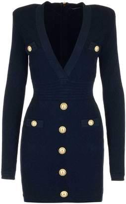 Balmain Button Embellished Bodycon Dress
