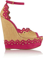 Alaia Studded suede and straw platform sandals