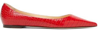 Jimmy Choo Love Flat Crocodile-effect Leather Ballet Flats - Womens - Red