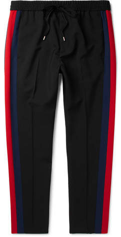 Gucci Tapered Striped Wool And Mohair-Blend Twill Drawstring Trousers