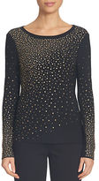 CeCe Long Sleeve Ombre Embellished Knit Top