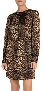 The Kooples Draped Leopard Print Silk Dress