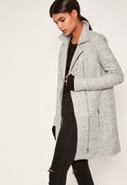 Missguided Tall Grey Wool Biker Coat