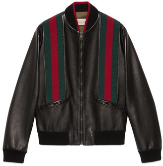 Gucci Leather bomber jacket with Web