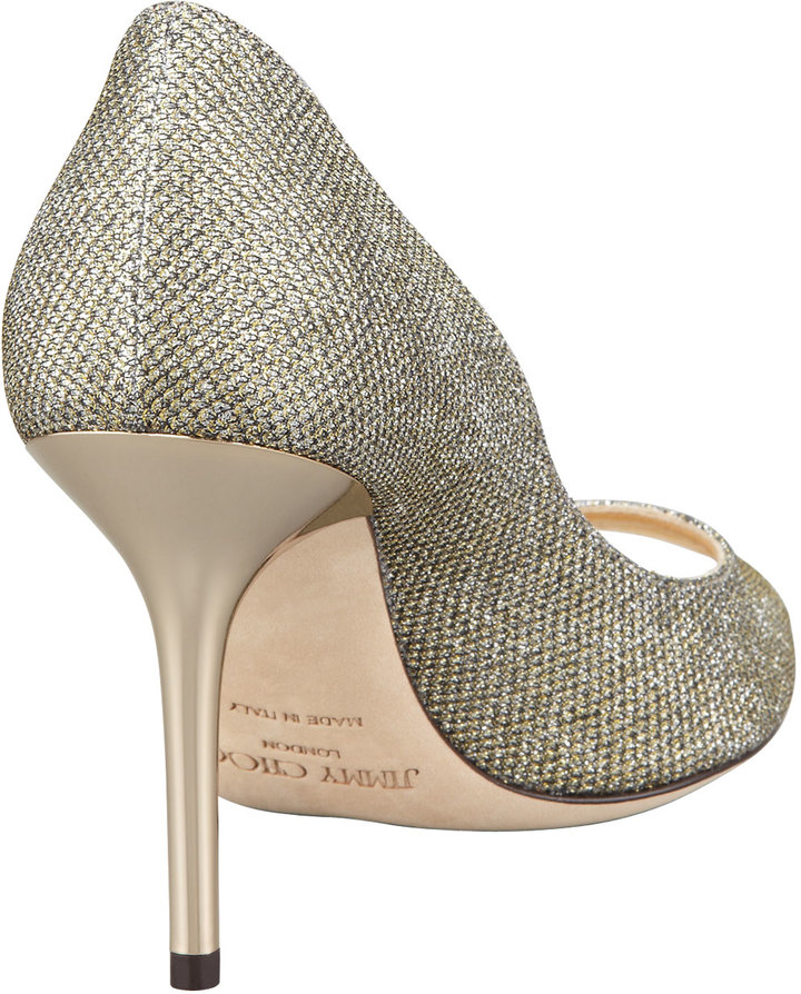 Jimmy Choo Evelyn Peep-Toe Glitter Pump, Light Bronze
