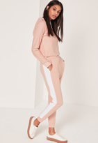 Missguided Striped Contrast Elastic Side Joggers Pink