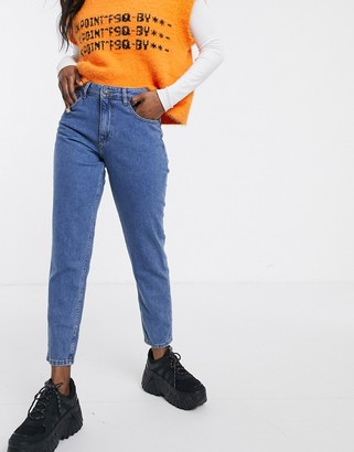 Noisy May ankle grazer mom jean with contrast stitch-Blue