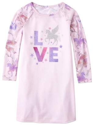 Children's Place The The Childrens Place 'Love' Long Sleeve Unicorn Graphic Pajama Nightgown (Little Girls and Big Girls)