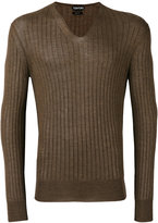 Tom Ford ribbed V-neck jumper - men - Silk/Cashmere - 48