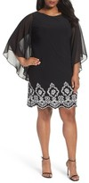 Xscape Evenings Plus Size Women's Beaded Hem Short Shift Dress