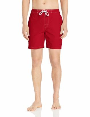 "28 Palms Amazon Brand Men's 7"" Inseam Tropical Hawaiian Print Cotton Nylon Swim Board Short"