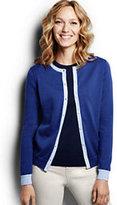 Lands' End Women's Petite Classic Supima Colorblock Cardigan Sweater-Vibrant Cobalt Colorblock
