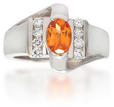 NEW TAKAT 14K White Gold Spessarite Garnet Diamond Accent Solitaire Ring Sz 6.5