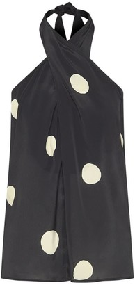 Theavant Crossover Neckline Top With Oversized Polka-Dots