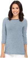 Three Dots Rosie 3/4 Sleeve British Indigo T-Shirt
