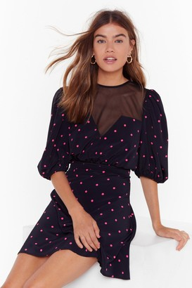 Nasty Gal Womens Dot Meshing Puff Sleve Mini Dress - Black