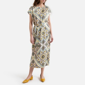 La Redoute Collections Sleeveless Maxi Shift Dress in Scarf Print