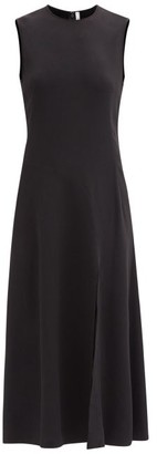 Another Tomorrow - Sleeveless Panelled Crepe Midi Dress - Black