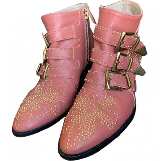 Chloé Susanna Pink Leather Ankle boots