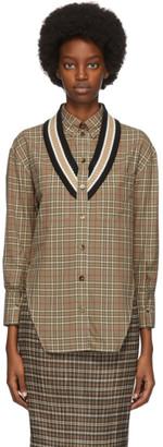 Burberry Beige Check Knit Trim Shirt