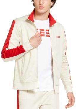 GUESS Men's Athletic-Fit Fleece Block Patch Track Jacket