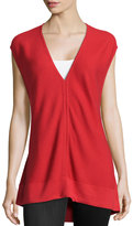 Josie Ribbed V-Neck Sweater, Tomato Red