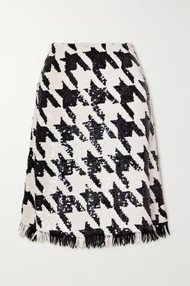Ashish Fringed Houndstooth Sequined Cotton Skirt - Black