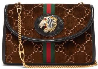 Gucci Rajah Gg Monogram Velvet Cross-body Bag - Womens - Brown Multi