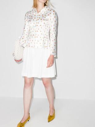 yuhan wang Rose-Print Long-Sleeve Blouse