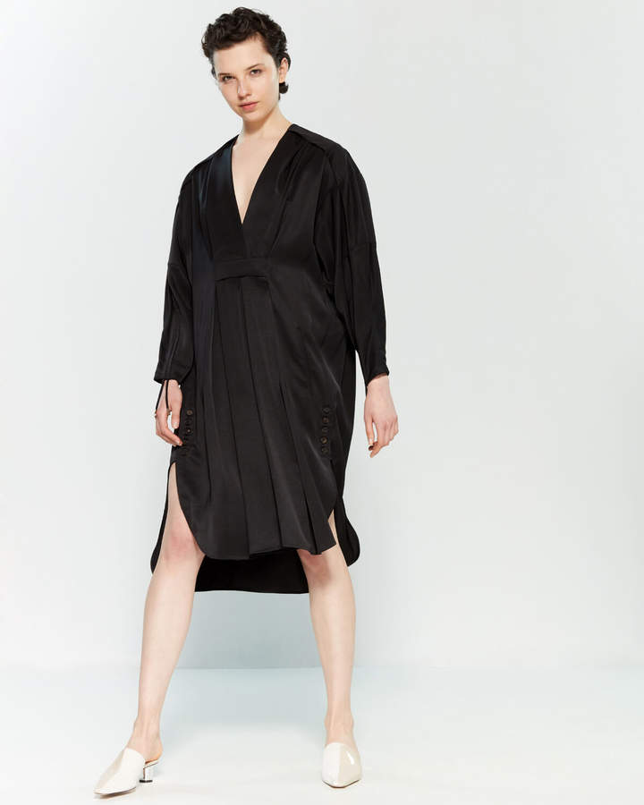 Carven Black Long Sleeve Midi Shift Dress