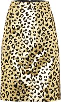 Biba gold real suede printed skirt