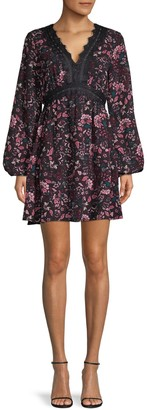 Laundry by Shelli Segal Lace-Trim Floral Babydoll Dress