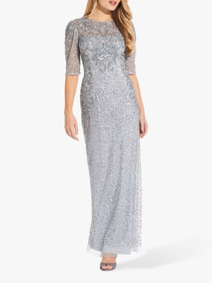 Adrianna Papell Beaded Elbow Length Long Dress, Glacier