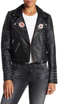 Blanknyc Denim Stud Floral Moto Faux Leather Jacket