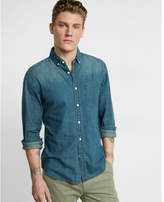 Express soft wash button-down denim shirt