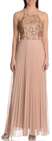 Cachet 56902 Halter Sequin Pleated Chiffon Dress