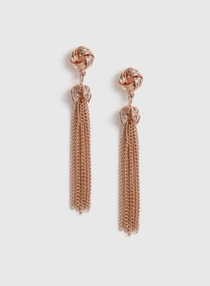 Dorothy Perkins Womens Rose Gold Tassel Earrings, Rose Gold