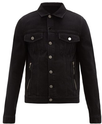 Balmain Buffalo Logo Bead-embroidered Denim Jacket - Mens - Black