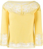 Ermanno Scervino lace panelled knitted top