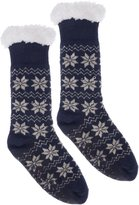 Wanted Women's Snowflake Thermal Plush Knee High Slipper Socks (Blue)