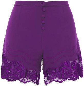 La Perla Lace-paneled Stretch-silk Crepe Pajama Shorts