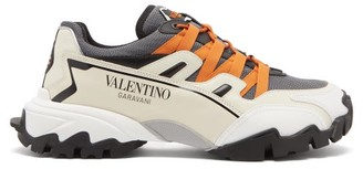 Valentino Climbers Logo-print Leather And Mesh Trainers - Grey Multi