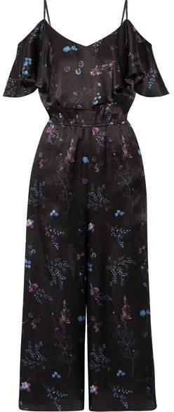 Rachel Zoe Houghton Ruffled Floral-print Silk-satin Jumpsuit - Black