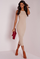 Missguided Ribbed Square Neck Midi Dress Camel